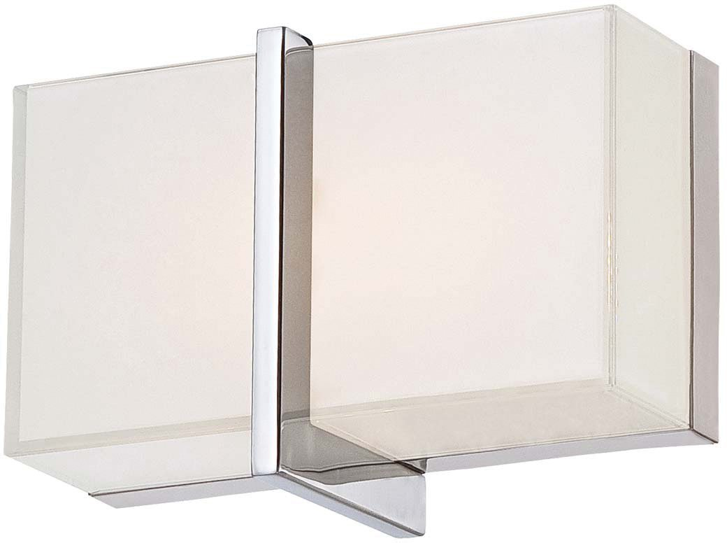 Minka Lavery Modern Wall Sconce Lighting 2921-77-L High Rise Bath Glass Damp Bath Vanity Fixture, 1 Light LED, Chrome