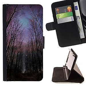 For LG G3 Case , Bosque Cielo Nocturno Universo Creepy- la tarjeta de Crédito Slots PU Funda de cuero Monedero caso cubierta de piel