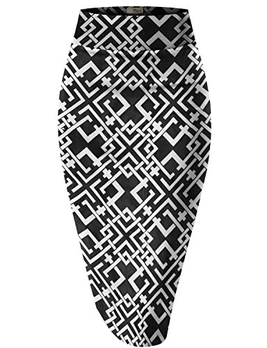 HyBrid & Company Womens Pencil Skirt for Office Wear KSK43584 RMX1864 Black/Whit L