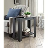 Black Finish 2-tier Chair Side End Table with Shelf