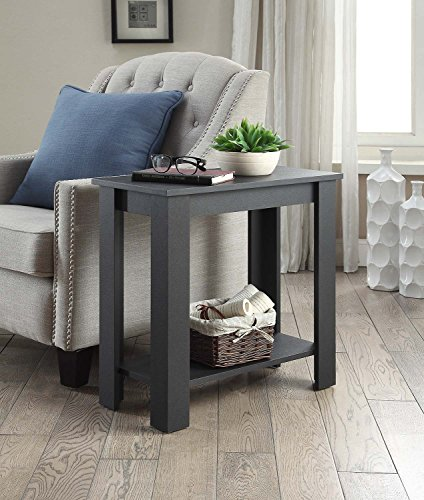 Black Finish 2-tier Chair Side End Table with Shelf by eHomeProducts