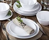Parhoma White Melamine Plastic Home Dinnerware Set, 12-Piece Service for 4