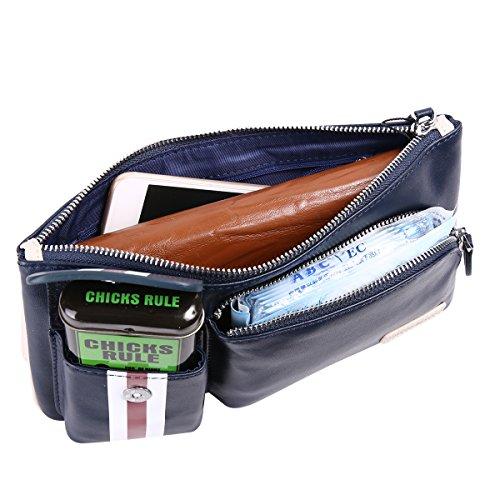 de Leathario pecho trabajo bolso o azul La para mochila color bandolera cuero cuero primera para diario hombres piel capa con Azul OO1Hrx