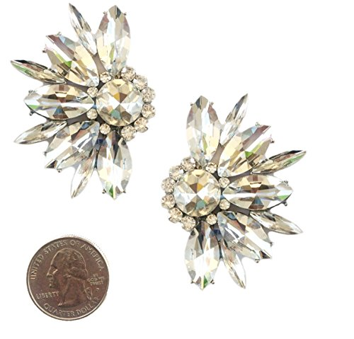 Deco Antique Vintage Retro Style Clear Bridal Wedding Formal Rhinestone Cluster Clip On Earrings (Large Vintage Crystal)