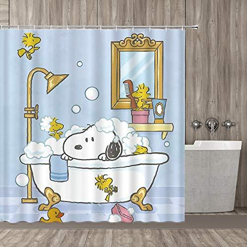 Bathing Dog Decoration Series, Playful Dog Bathing In Bathtub Bath Time Beauty Cleaning Pet Theme Illustration, Polyester Fabric Bathroom Shower Curtain, 70 Inch Long White Dog ()