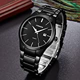 Voeons Mens Watches Classic Black Steel Band Quartz Analog Wrist Watch for Men
