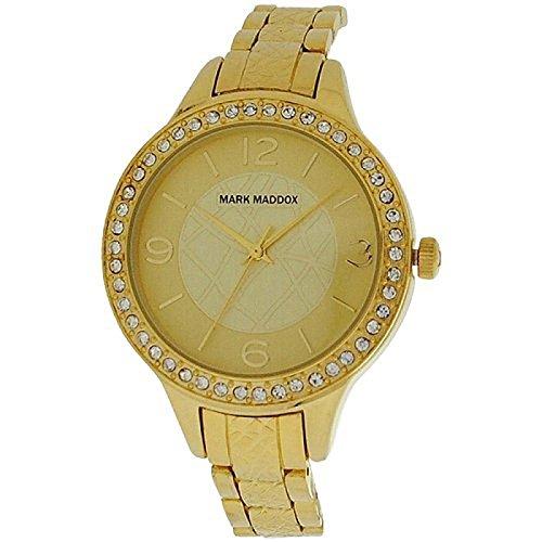 Mark Maddox Ladies Rhinestone Set Bezel Goldtone Bracelet Strap Watch MF6001-25