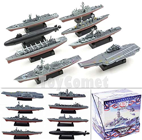 (FidgetKute 8 pcs 4D Assembled Battleship Aircraft Carrier Submarine Warship Ship Model Kit )