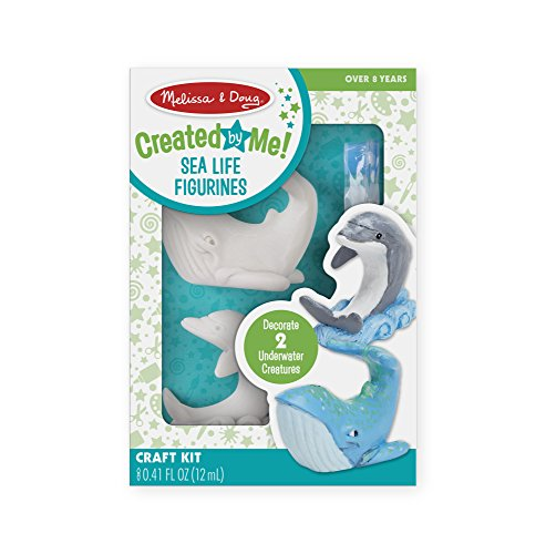 Melissa & Doug Decorate-Your-Own Sea Life Figurines Craft Kit - Paint a Whale and Dolphin