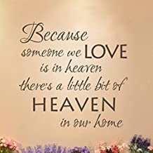 MairGwall Because someone we Love is in Heaven Wall Decal Vinyl Lettering Remembrance Decor Gift (Black, Medium)