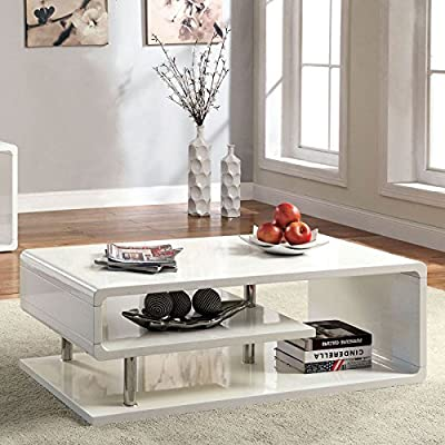 Ninove Contemporary Style Glossy White Finish Coffee Table