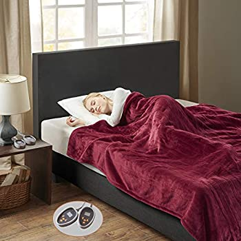Woolrich Plush to Berber Electric Blanket Throw Ultra Soft Knitted, Super Warm and Snuggly Cozy with Auto Shut Off and Multi Heat Level Setting Controllers, King, Garnet