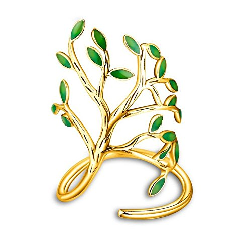 Uloveido Fashion Women's Adjustable Ring Girls Green Olive Life Tree Gold Plated Free Size Open Ring for Women (Olive Green Cocktail Ring)