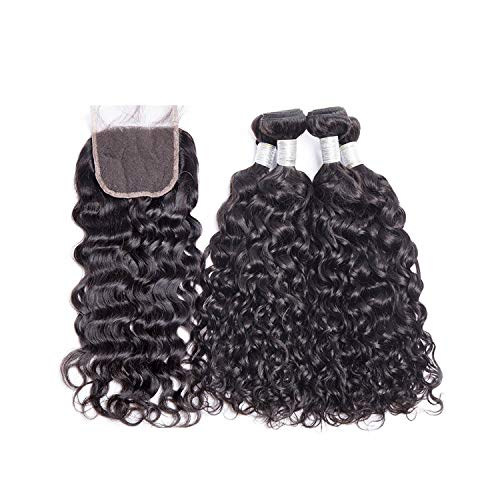 Malaysian Water Wave Human Hair Bundles With Closure 3 or 4 Bundles With Closure Remy Hair Extensions Middle Free Closure,18 & 20 & 22 & Closure 16,Middle Part]()