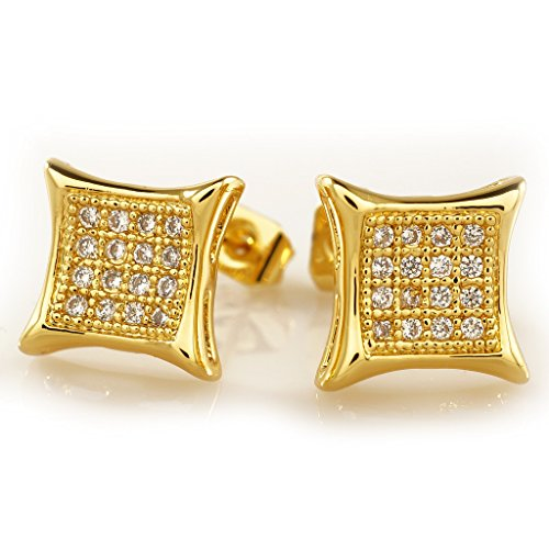 18K Gold Plated ICED OUT Square Stud AAA CZ Earring (Mens Iced Out Bling Earrings)