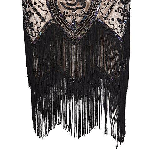 20 Años Con Disfraz Ceremonia Vestido Elegante Imagicsun Beige Estilo Gatsby Vintaje Mujer CqX1w6Zp