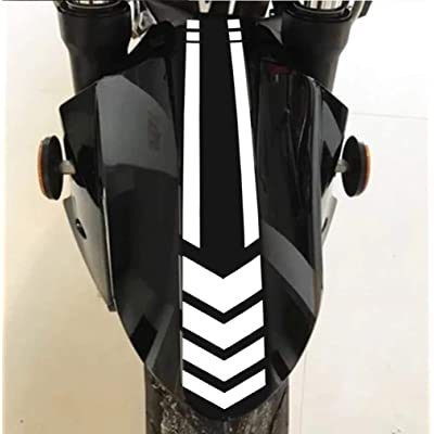 Motorcycle Fender Decals Stickers Universal Reflective Arrows Pattern Motorcycle Decals 13.4 x 2.7 inch (Whtie): Automotive