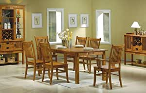 7 Pc Medium Brown Finish Wood Mission Style Dining Room Table Se
