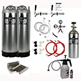 HomeBrewStuff Kegerator Conversion Kit with 2 New Keg With CO2 Tank, Drip Tray, And 1 Quart Cleaning Kit