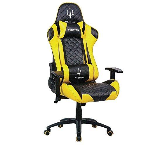 Triton p050-x3-by Gaming Chair-sedia, Piel sintetica, Negro/Amarillo, 70x 65x 125cm