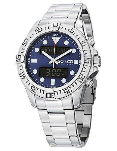 (SO&CO New York Men's 5017.2 Yacht Club Analog Digital Blue Dial Stainless Steel Watch)
