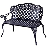 Giantex 42.5″ Patio Garden Bench Cast Aluminum Park Yard Seating Antique Outdoor Furniture Seat, Rose Design