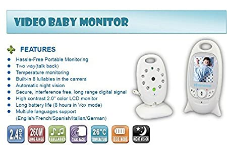 Room Temperature Monitor Night Vision 2.4 Inch Display 70 Degree Lens Video Baby Monitor BW Baby Monitors with Two Way Audio