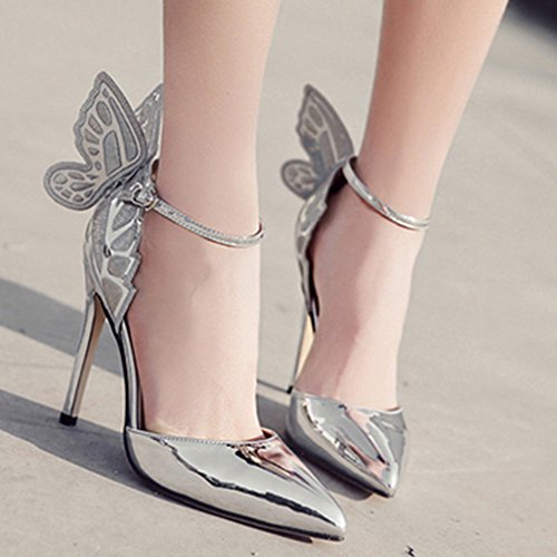 Argent Xianshu Pompes Bout Hauts Aiguille Femmes à de Papillon Chaussures Pompes Pointu Stereoscopic Cheville Escarpins Sangle Talons FrwaPFqxZ