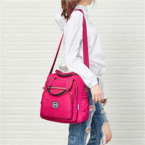 Crossbody Ladies Backpack Bag Bag OURBAG Wine Red Large Casual Mummy Nylon Travel Bag Women Multifunctional Rose Waterproof Shoulder nXqa5XP