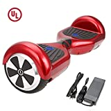 "SURFUS 6.5"" Waterproof Hoverboard Buffing Shell UL 2272 Certified Self-Balancing Scooter LED Lights, Red"