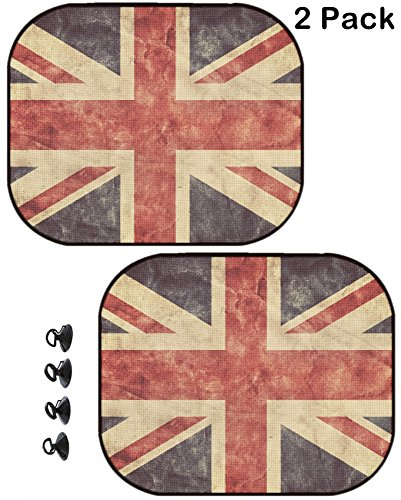 MSD Car Sun Shade Protector Side Window Block Damaging UV Rays Sunlight Heat for All Vehicles, 2 Pack Image ID: 31476903 The United Kingdom or Union Jack Grunge Flag Vintage Retro Style Hig