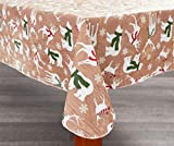 Christmas Vinyl Tablecloth - PEVA with Flannel back (52 X 52, Holiday Reindeers & Bears)