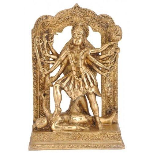"""Gangesindia Goddess Kali Brass Statue 4178 (11.50""""H x 7.75""""W x 3.75""""D) Gold"""