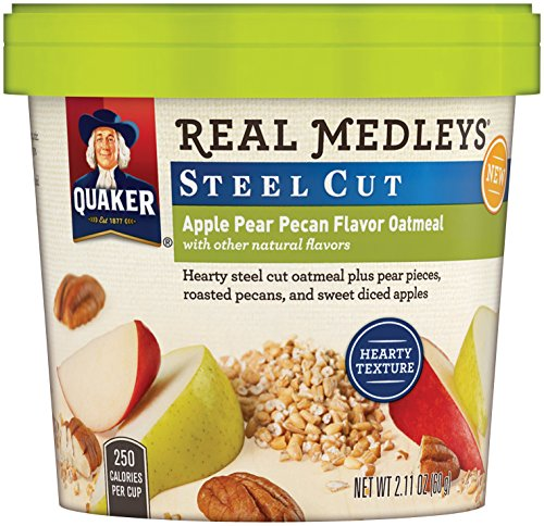 Pear Cup (Quaker Real Medleys Instant Oatmeal, Steel Cut, Apple Pear Pecan, Breakfast Cereal, 2.11oz Cup (Pack of 12)