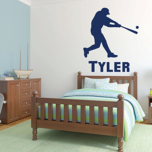 Baseball Wall Decal - Batting Player Sport Sticker Vinyl Decal for Children's Bedrooms, Playroom or Home Decor