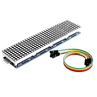 HiLetgo MAX7219 Dot Matrix Module for Arduino Microcontroller 4 in 1 Display with 5pin Line