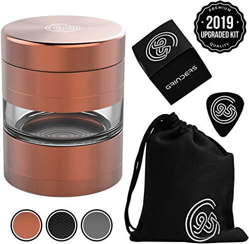 9TO5 GRINDERS Dry Herb Grinder - Large 2.5 Inch 5 Piece Set with Pollen Catcher & Jar - Includes REMOVABLE Stainless Steel Screen/Pollen Scraper/Travel Bag (Copper/Rose Gold) (Top 10 Best Weed Grinders)