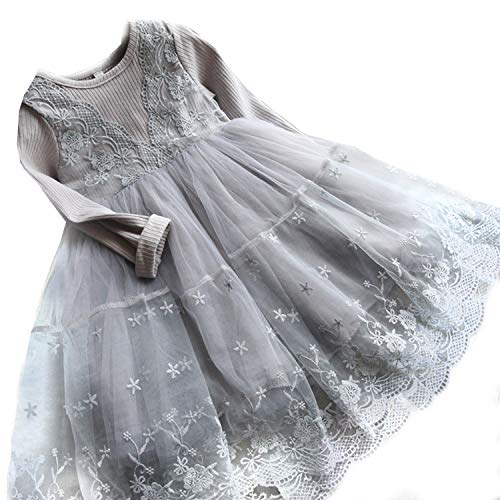 Embellishment Layered Flower - TTYAOVO Girls Knit Longsleeve Lace Flower Tulle Layered Princess Party Dresses Size 2-3 Years Gray