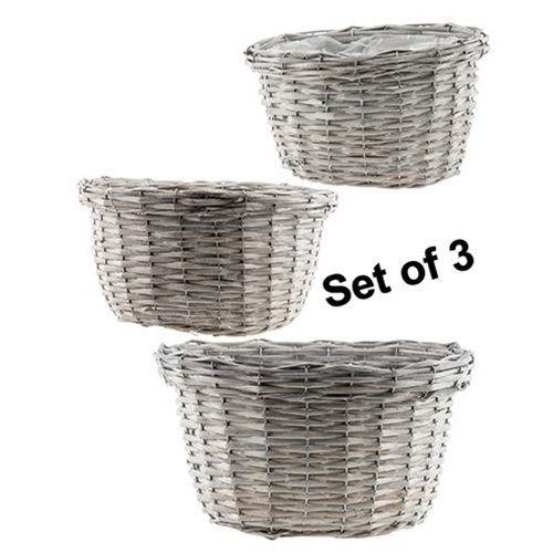 Heart of America Gray Willow Baskets - Set of 3