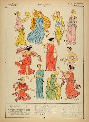 1922 Pochoir Greco Roman Women Costume Etruscan Tunic - Orig. Print (Etruscan Antique)