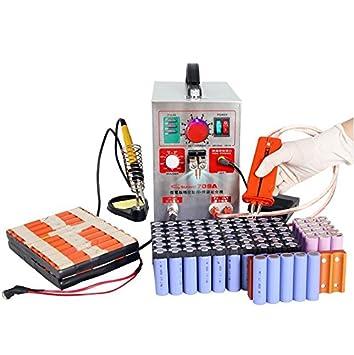 KNOKOO Soldador del punto de la batería del pulso de 1.9kw LED 709A con la soldadora del punto de la estación del soldador para el paquete de batería 18650 ...