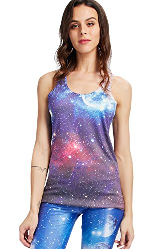 Leapparel 3D Galaxy Nebula Space Style Tank Tops for Women (Style Womens Tank Top)