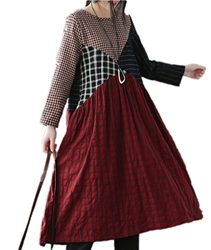 Linen Stripe Dress Shirt (YESNO E66 Women Long Loose Maxi Swing Dress Linen Plaid Stripe Stitched Contrast Color Long Sleeve Pocket)