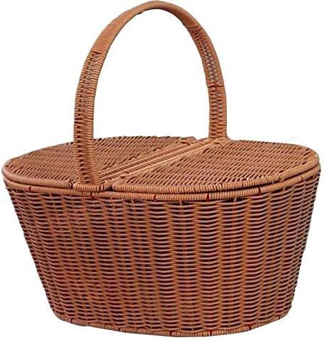 LUGZZY051 ピクニックバスケット、手織りバスケット、ピクニックショッピングツール
