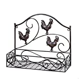 Ghp Country Style Metal Scrollwork Three Rooster Wall Basket Shelf