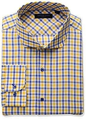 Andrew Fezza Men's Premium Fashion Plaid Dress Shirt