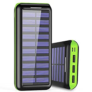 Portable Charger 24000mAh Power Bank High Capacity Solar charger with Dual Input Port ( Double-Speed Recharging ) & 3 USB Ports External Batteries for Smartphones,Android Phones and other Smart Devices - Green