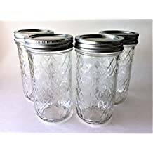 Mason Ball Jelly Jars-12 oz. each - Quilted Crystal Style-Set of 4
