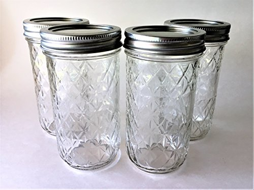 Mason Ball Jelly Jars-12 oz. each - Quilted Crystal Style-Set of 4 (Ball Mason Jars 12 Oz)