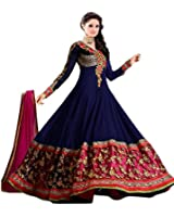 JAKM Woman's and Girl's Blue Georgette Embroidery Semi Stitched Free Size Salwar Suit Sets Dress Material (Salwar Kmeez)